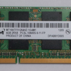 Memorie ram laptop DDR3 SODIMM Micron 4Gb 1333Mhz Clasa de latenta 9