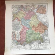 Veche harta inceput de secol XX regatul Bavariei / Konigreich Bayern ! - Harta Germaniei