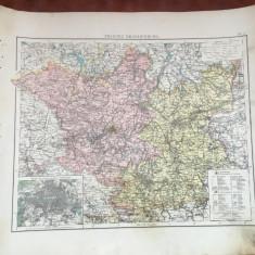 Prusia / Veche harta inceput de secol XX provincia prusaca Brandenburg ! - Harta Germaniei