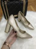 Pantofi dama aurii cu toc marime 36, 38,  40+CADOU, Nocciola