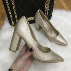 Pantofi dama aurii cu toc marime  40+CADOU