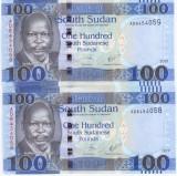 2bancnote x Sudan 100 pounds 2017 UNC - serii consecutive