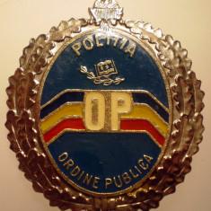 I.283 INSIGNA ROMANIA POLITIA OP ORDINE PUBLICA h50mm, Europa