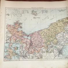 Prusia - Veche harta inceput de secol XX provincia prusaca Pommern ! - Harta Germaniei
