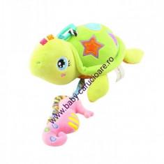 Jucărie pluș muzicală pentru cărucior-broscuta țestoasă