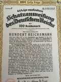 100 Reichsmark obligatiune Germania nazista 1937