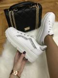Adidasi dama albi cu argintiu cu platforma marime 37, 38,  39, 40, 41+CADOU