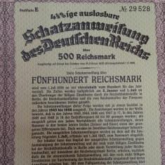 500 Reichsmark 1936 Germania obligatiune rara la purtator