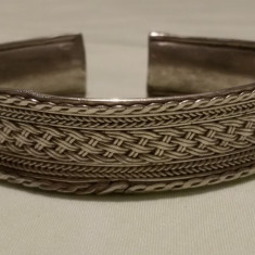 BRATARA argint TRIBALA reglabila LATA manopera SPLENDIDA marcaj VECHI vintage - Bijuterie veche