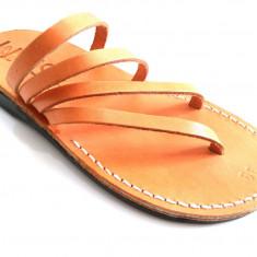 Sandale Spirala tip Papuc Unisex Camel Piele Naturala