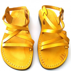 Sandale Piele Naturala Clasice Galbene - Sandale dama