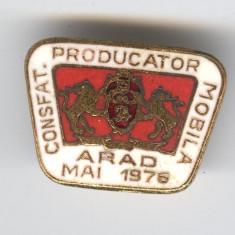 1976 CONSFATUIRE PRODUCATORI de MOBILA - ARAD, Insigna Superba