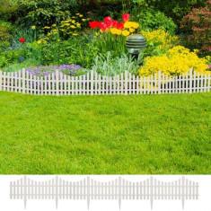 Gard pentru peluză Alb 17 buc / 10 m - Gard lemn