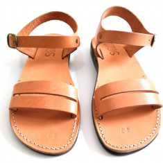 Sandale Piele Naturala Gladiator Paralel Camel - Sandale dama