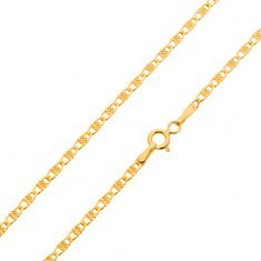Lanț din aur galben de 14K, zale ovale cu caneluri, 500 mm - Lantisor aur