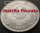 Moneda 25 Bani  - RS ROMANIA, anul 1982 *cod 4772 --- A.UNC + MATRITA FISURATA, Aluminiu