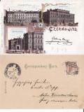 Cernauti , Bucovina - litografie -editura Leon Konig, Circulata, Printata