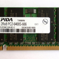ELPIDA 2GB 2Rx8 PC2-6400S-666 - Memorie RAM laptop Elpida, DDR2, 800 mhz