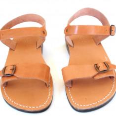 Sandale Gladiator Piele Naturala Camel - Sandale dama