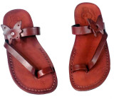 Sandale Piele Naturala Butterfly Maro
