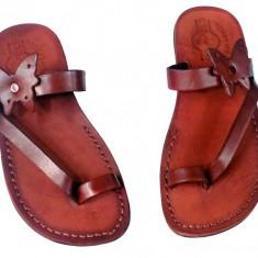 Sandale Piele Naturala Butterfly Maro - Sandale dama