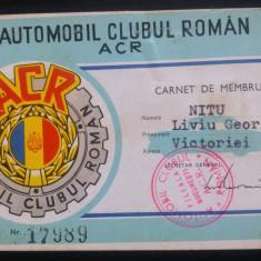 Carnet de membru + statut// ACR, Automobil Clubul Roman, 1968 - Diploma/Certificat