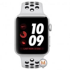 Apple Watch Series 3 Sport Nike Plus 42mm Aluminium Silver Plastic Sport Band Platinum Negru, Aluminiu, Argintiu