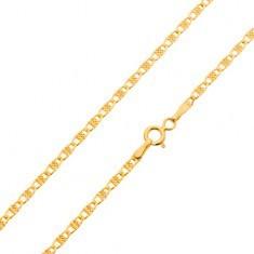 Lanț din aur de 14K, zale ovale cu dreptunghi canelat, 450 mm - Lantisor aur