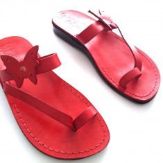 Sandale Piele Naturala Butterfly Rosii - Sandale dama