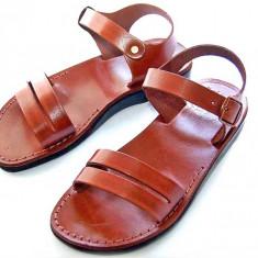 Sandale Piele Naturala gladiator Paralel Maro - Sandale dama