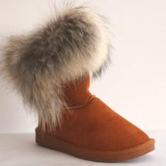 Cizme Piele Naturala Tip UGG Fox Blana Naturala Vulpe Camel Marimi 35-40