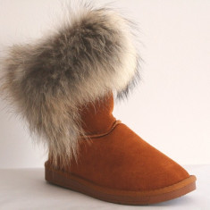 Cizme Piele Naturala Tip UGG Fox Blana Naturala Vulpe Camel Marimi 35-40 - Cizma dama
