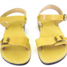 Sandale Gladiator Piele Naturala Galbene - Sandale dama