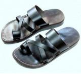 Sandale Hippie Piele Naturala cu Deget Negre