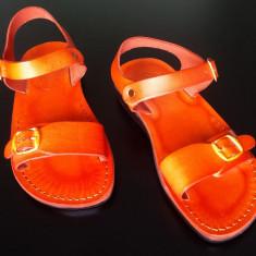 Sandale Piele Gladiator Orange - Sandale dama