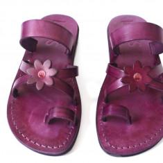 Sandale Piele Naturala Flower Violet - Sandale dama
