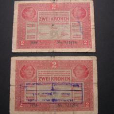 Lot 2 buc. Austria - Ungaria 2 Korona - Kronen 1917 martie 1 Wien, Europa