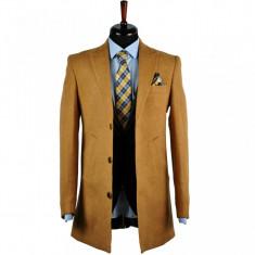 Palton barbati, Slim Fit, Maro, Ucu Dima, Cod:1061 Maro (Culoare: Maro, Marime palton: 48)