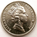 AUSTRALIA , 5 CENTS 1989 , Elizabeth II 3rd portrait, Australia si Oceania, Crom
