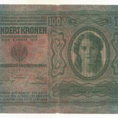 AUSTRIA  AUSTRO-UNGARIA 100  KRONEN  KORONA 1912 [2] P-12 scrie UNA SUTA COROANE