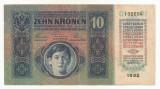 AUSTRIA   AUSTRO-UNGARIA  10  KRONEN  COROANE  1915  [1] XF ,  fara supratipar