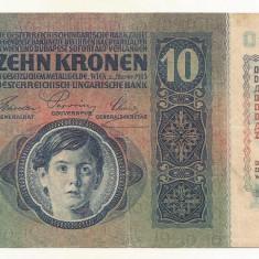 AUSTRIA AUSTRO-UNGARIA 10 KRONEN COROANE 1915 [1] XF, fara supratipar - bancnota europa