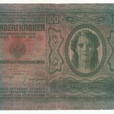 AUSTRIA AUSTRO-UNGARIA 100 KRONEN KORONA 1912 [1] P-12 scrie UNA SUTA COROANE - bancnota europa