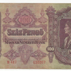 UNGARIA  100  PENGO  1930   [3]  P-98  ,  XF+