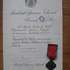 Brevet + Medalia Virtute Militara de razboi cls a 2-a, 1945, Mihai 1 .
