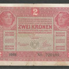 AUSTRIA  AUSTRO-UNGARIA 2  KRONEN KORONA COROANE  1917  [12]   P-21