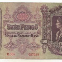 UNGARIA  100  PENGO  1930   [1]  P-98  ,  XF+