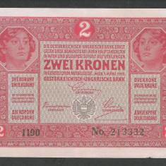AUSTRIA  AUSTRO-UNGARIA 2  KRONEN KORONA COROANE  1917  [7]   P-21 ,  VF+