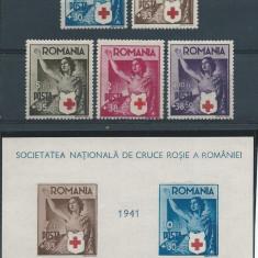 1941 Romania, LP 145, LP 146- Crucea Rosie, serie si colita nedantelata-MNH - Timbre Romania, Nestampilat