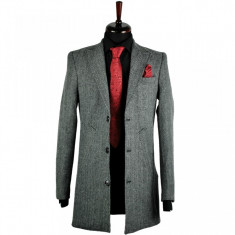 Palton barbati, Slim Fit, Gri, Ucu Dima, Cod:1072 Gri (Culoare: Gri, Marime palton: 48)